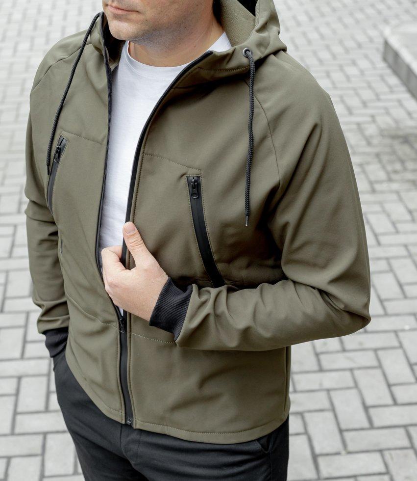 Куртка Softshell хакі на флісі водоупорная тканина