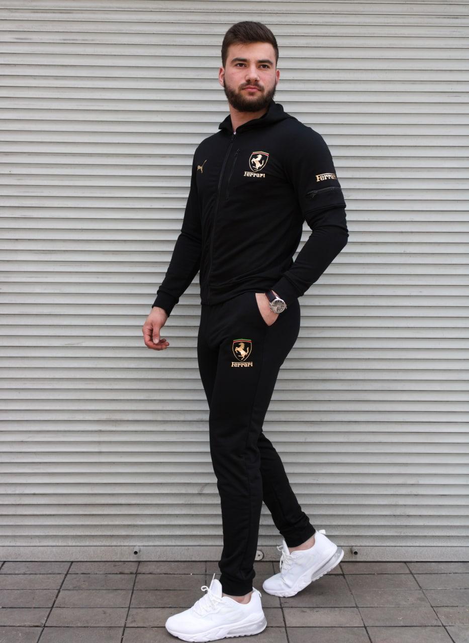 Чорний спортивний костюм чоловічий з капюшоном Puma Ferrari   двухнить