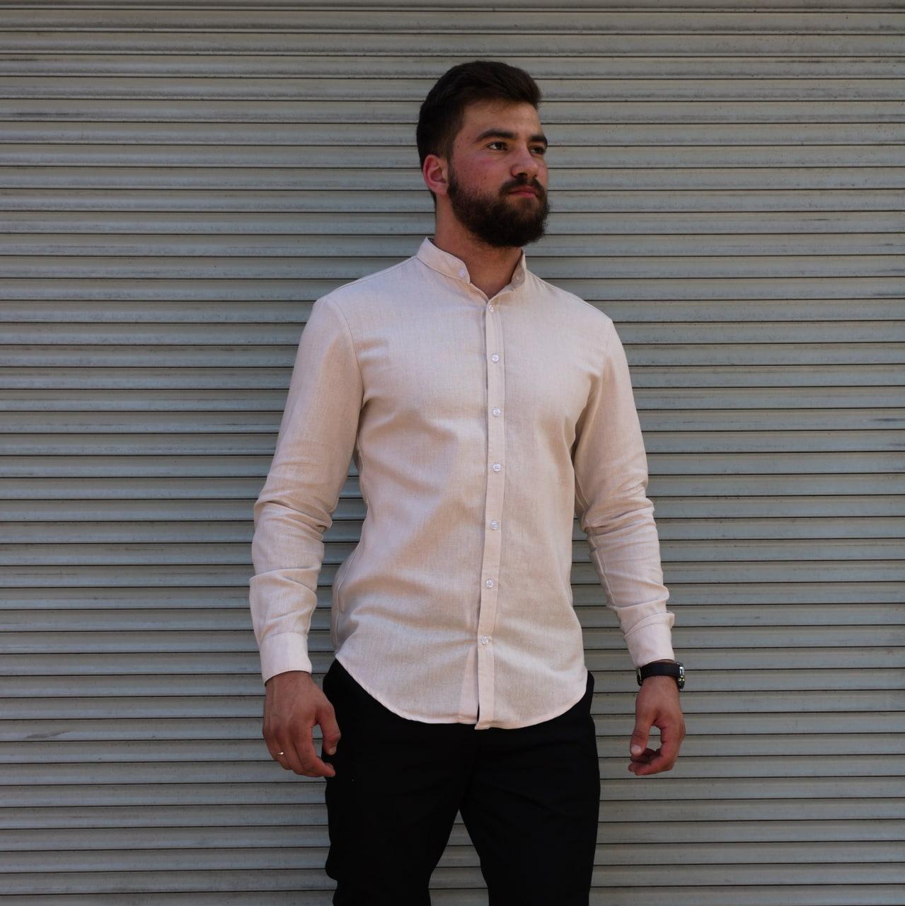 Стильная мужская льняная рубашка , воротник стойка