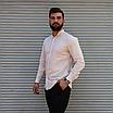 Стильная мужская льняная рубашка , воротник стойка, фото 3