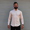 Стильная мужская льняная рубашка , воротник стойка, фото 6