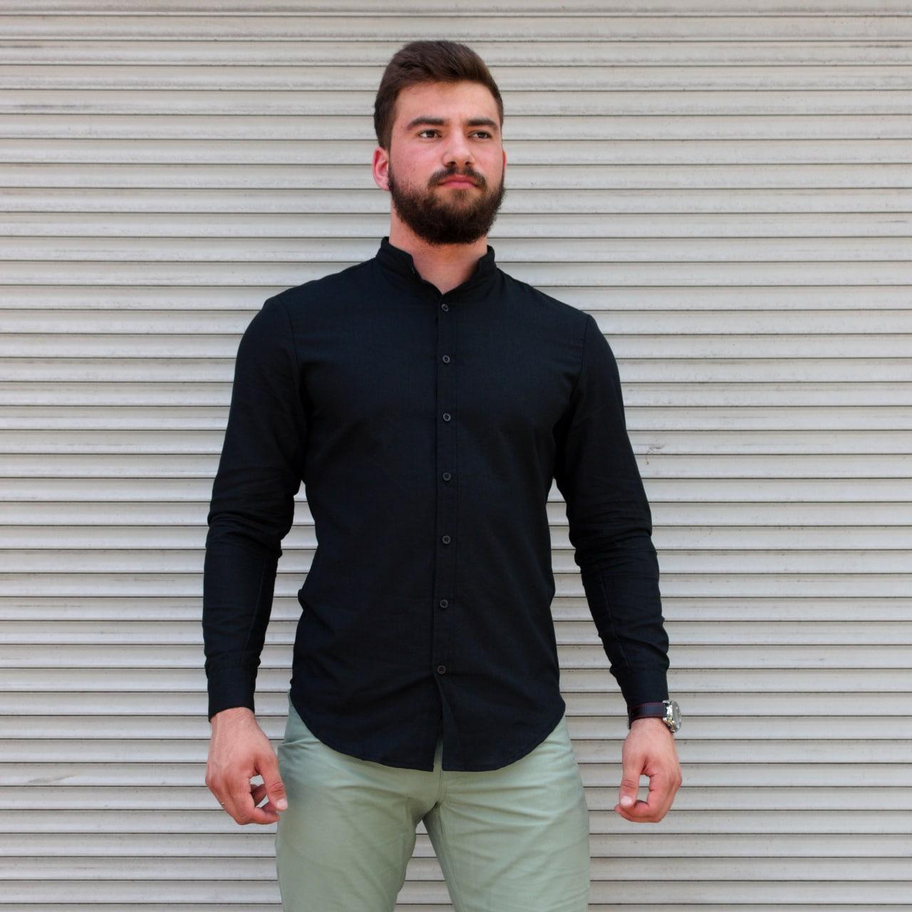 Стильна чоловіча лляна сорочка чорна , комір стійка