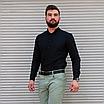 Стильна чоловіча лляна сорочка чорна , комір стійка, фото 2