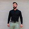 Стильна чоловіча лляна сорочка чорна , комір стійка, фото 3