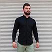 Стильна чоловіча лляна сорочка чорна , комір стійка, фото 4