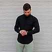 Стильна чоловіча лляна сорочка чорна , комір стійка, фото 5