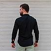Стильна чоловіча лляна сорочка чорна , комір стійка, фото 6
