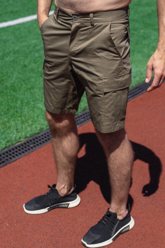 Чоловічі хакі шорти з накладними кишенями коттон