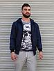 Темно-синя куртка чоловіча з капюшоном з щільної плащової тканини з накладними кишенями | Україна, фото 3