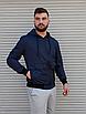 Темно-синя куртка чоловіча з капюшоном з щільної плащової тканини з накладними кишенями | Україна, фото 4