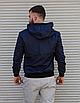 Темно-синя куртка чоловіча з капюшоном з щільної плащової тканини з накладними кишенями | Україна, фото 5