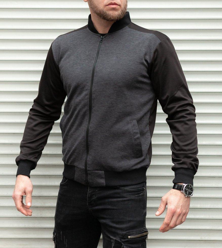 Кофта мужская на молнии чёрная с серым