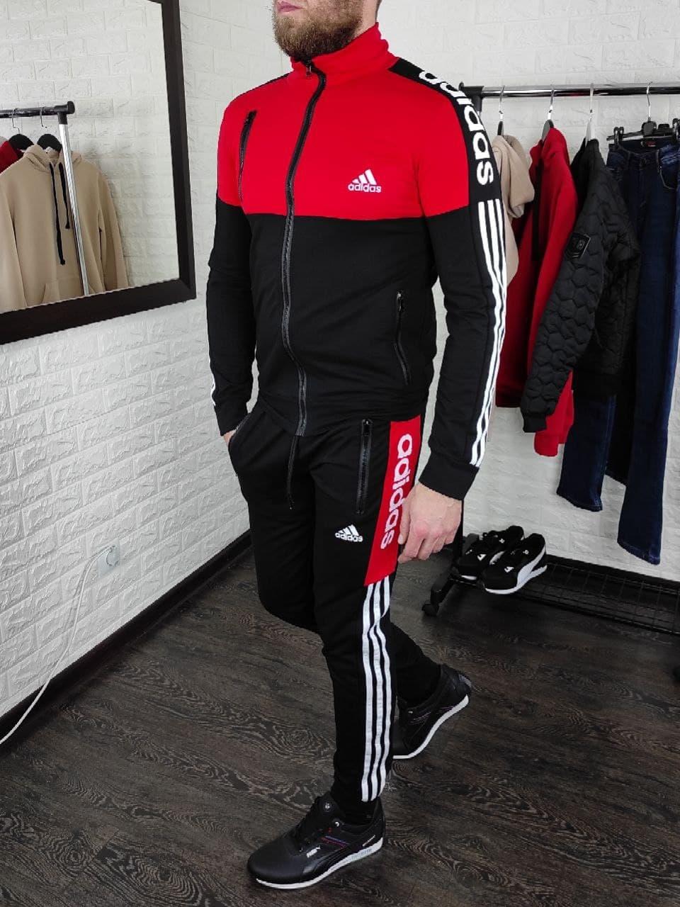 Мужской спортивный костюм Adidas без капюшона , штаны на манжетах