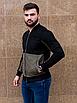Чёрный замшевый бомбер мужской со вставкой цвета хаки | эко-замша, фото 4