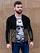 Чёрный замшевый бомбер мужской со вставкой цвета хаки | эко-замша, фото 5