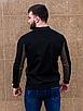 Чёрный замшевый бомбер мужской со вставкой цвета хаки | эко-замша, фото 6