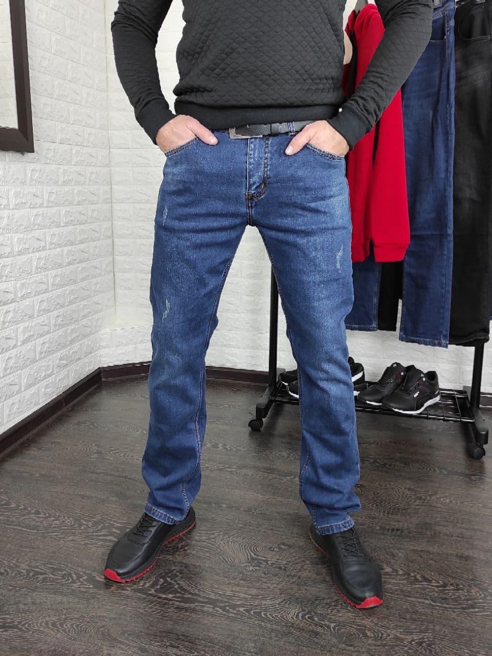 Чоловічі утеплені джинси на байку сині