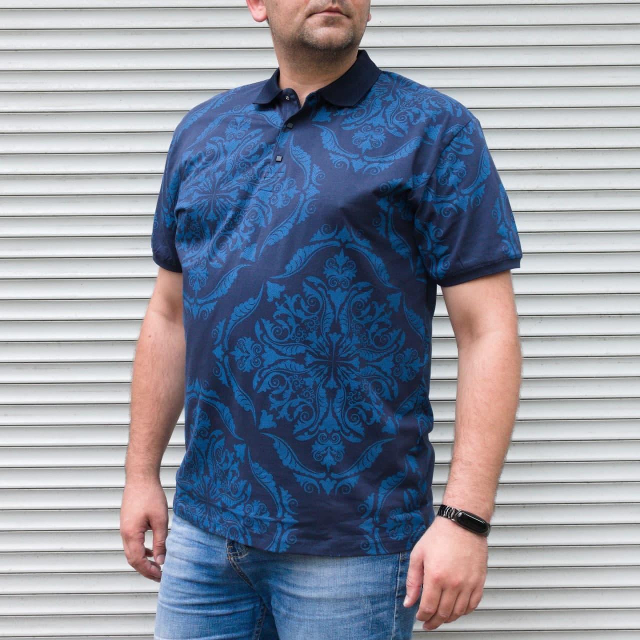 Синяя футболка поло мужская большого размера с орнаментом | БАТАЛ | Турция | хлопок + полиэстер