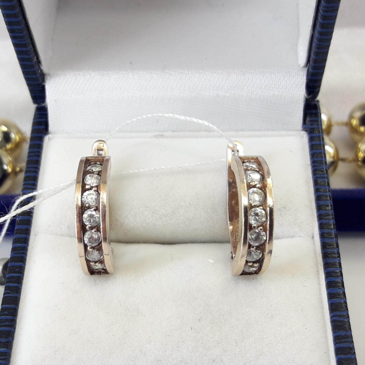 Класичні срібні сережки доріжки в позолоті