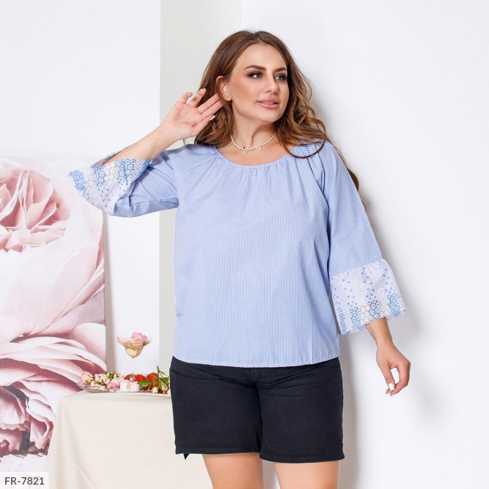 Стильная свободная блуза кофта женская из натурального батиста с кружевом большие размеры 50-56 арт. р1593