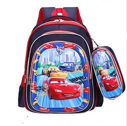 Школьный рюкзак для мальчика Тачки маквин с пеналом 1-4 класс