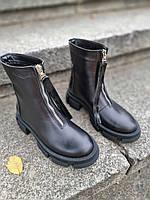 Зручні черевики з натуральної шкіри/лак. Байка чи зима на вибір Код кА-25 колір Чорний, фото 1