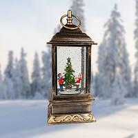 """Декоративний новорічний ліхтар квадрат """"Хлопчик і дівчинка у ялинки"""""""