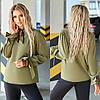 Жіноча ошатна пряма блузка хакі