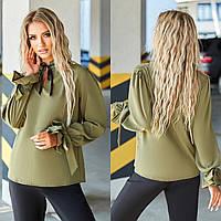 Жіноча ошатна пряма блузка хакі, фото 1