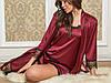 Стильний жіночий шелковвый домашній комплект топ + шорти + халатик з мереживом. Арт-1511/8
