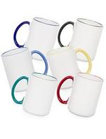 Чашка для сублимации цветной ободок и ручка  425 мл