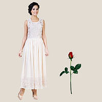 Платье в пол Хлопок-шелк-шифон IN 15226  Шампань
