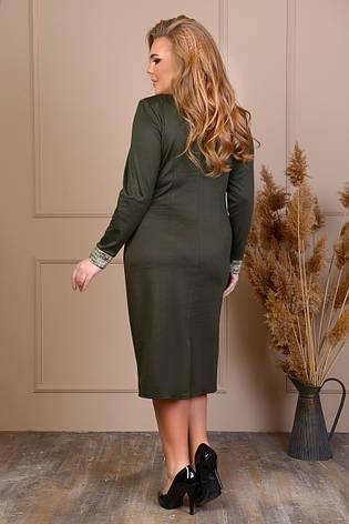 Офисное зеленое платье большого размера, фото 2