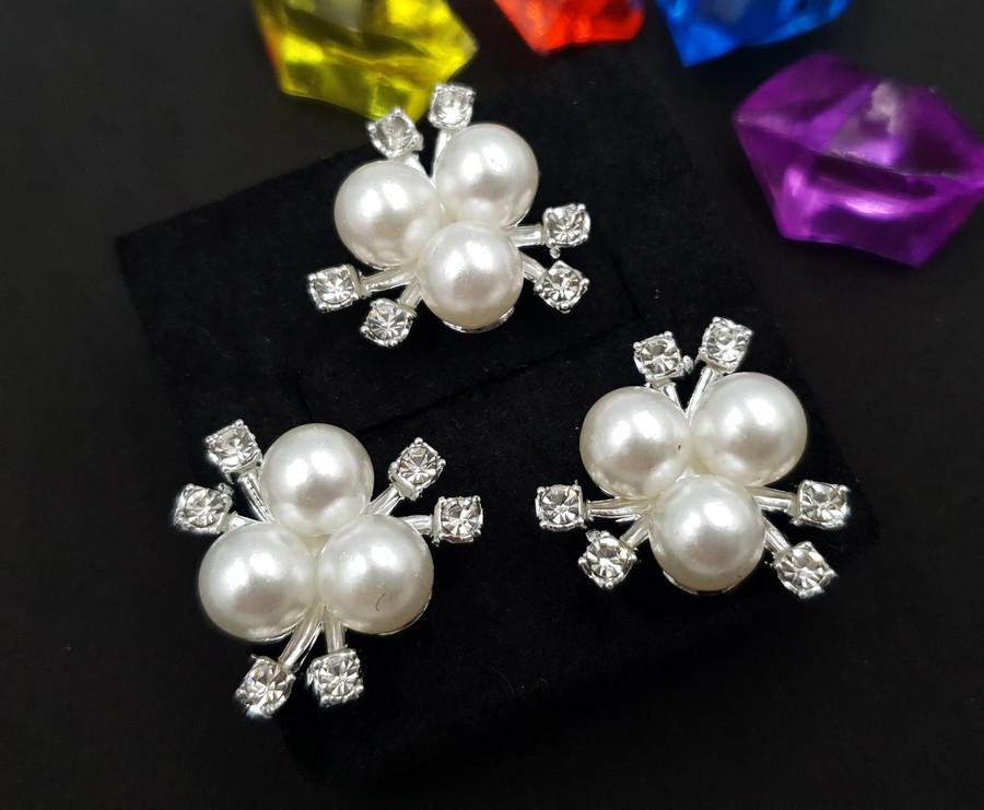"""(5 шт) Серединки,кабошони 21х20мм """"Три перлини"""" Колір - Срібло"""
