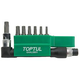 """Набор бит TORX TOPTUL 1/4"""" T10H-T40H + Г-обр. переходник 8ед. GAAL0801"""