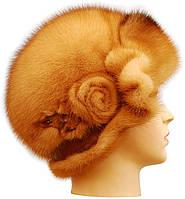 Меховая шляпа женская из норки цвет деграде.