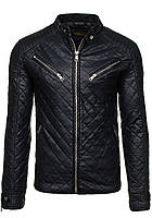 Мужская стеганая кожаная черная куртка