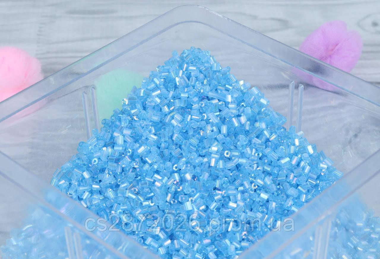 Бісер Рубка ,Китай 100 грам,блакитний