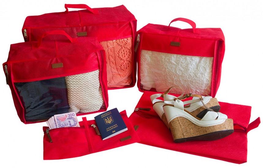 Набір дорожніх сумок 5 шт (червона)