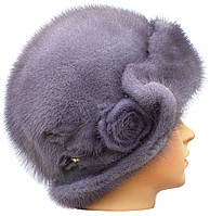Меховая шляпа женская из норки цвет серо-голубая