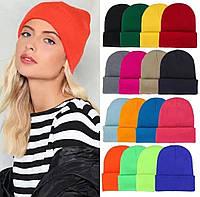 Женская двойная шапка бини чулок яркая удлиненная теплая подростковая осенняя деми спортивная шапочка