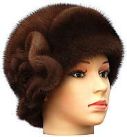 Меховая шляпа женская из норки цвет орех