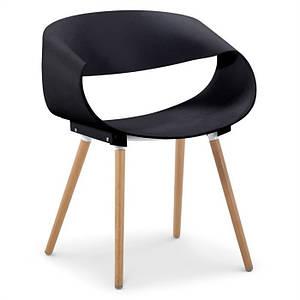Дизайнерский стул Берта SDM пластик черный деревянные ножки бук