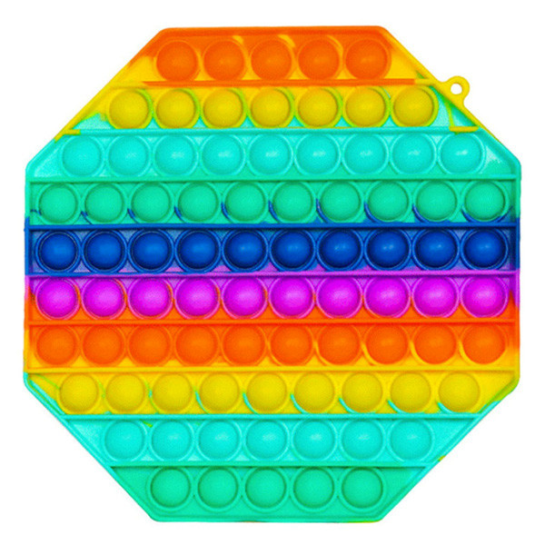 Pop It Антистресс Игрушка - (Поп Ит - Попит - Popit) - Радужный Большой Восьмиугольник