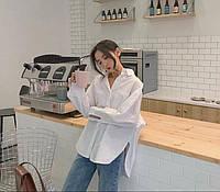 Женская модная стильная удобная однотонная оверсайз рубашка ткань итальянская