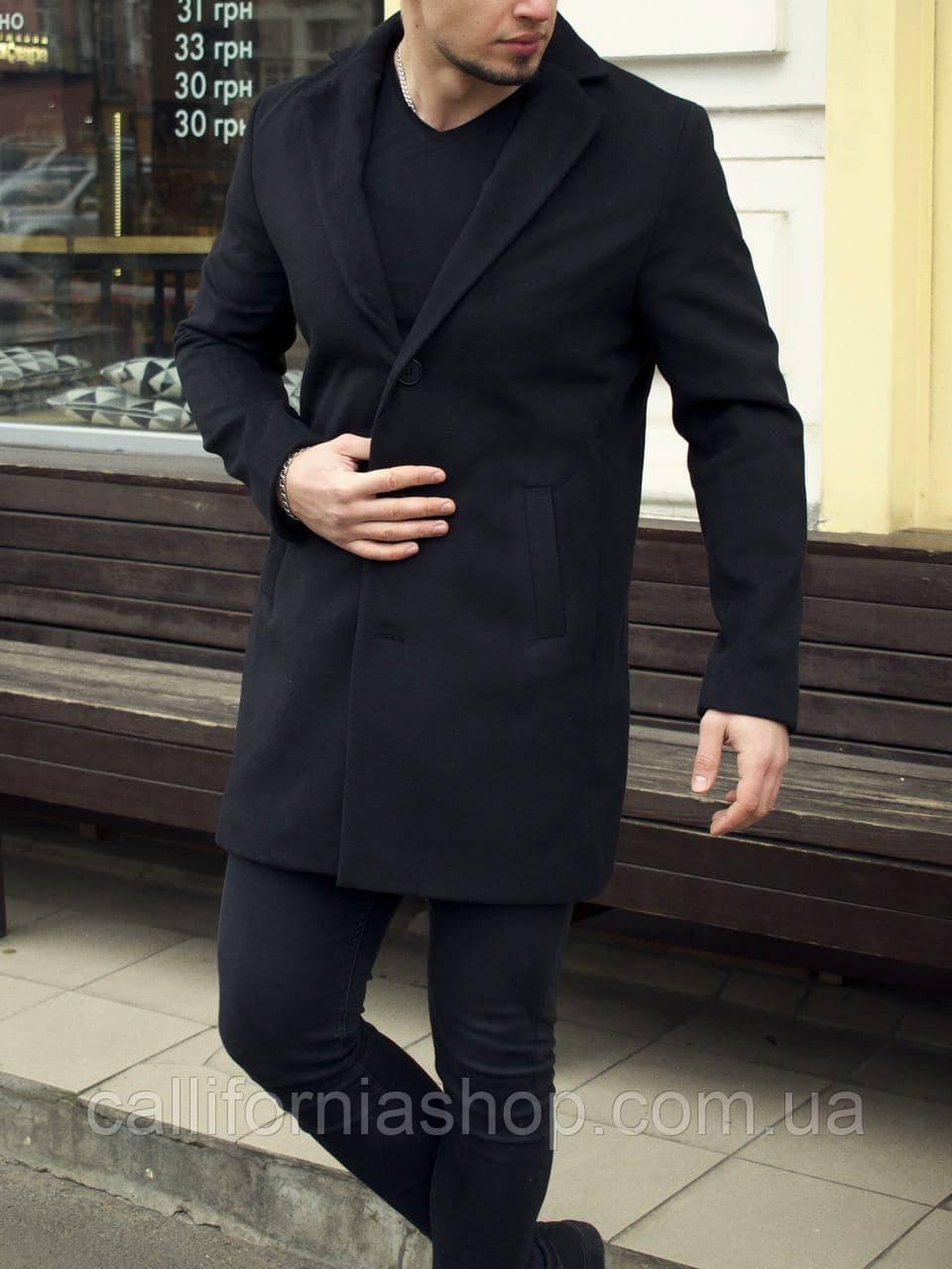 Пальто мужское классическое кашемировое черного цвета длинное демисезонное