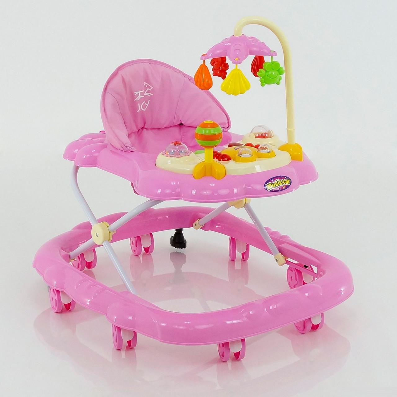 Дитячі ходунки музичні для дівчинки «Music Car» JOY D 28 (рожеві)