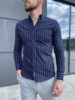 Рубашка мужская в полоску темно-синего цвета с длинным рукавом