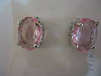 Серьги с крупным розовым камнем под серебро