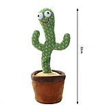 Танцюючий плюшевий кактус М'яка музична, інтерактивна іграшка кактус у горщику для співу танців у вазоні, фото 6